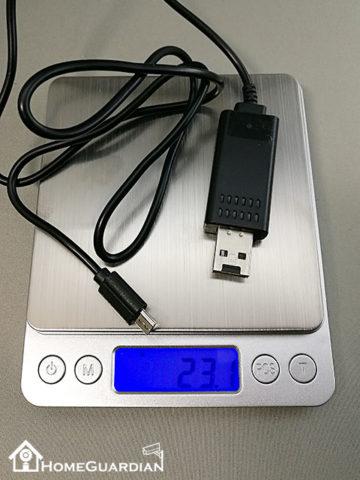 USB充電ケーブル型カメラの重量